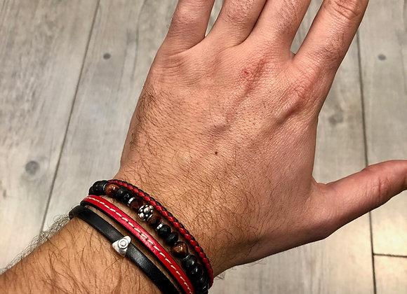 Composition bracelets perles et cuir ajustable