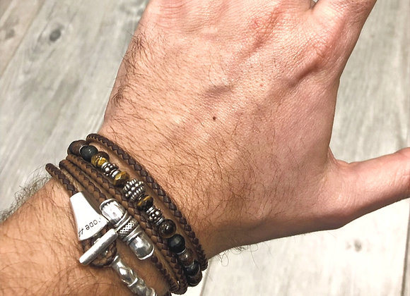 Composition bracelet demi-jonc et perles