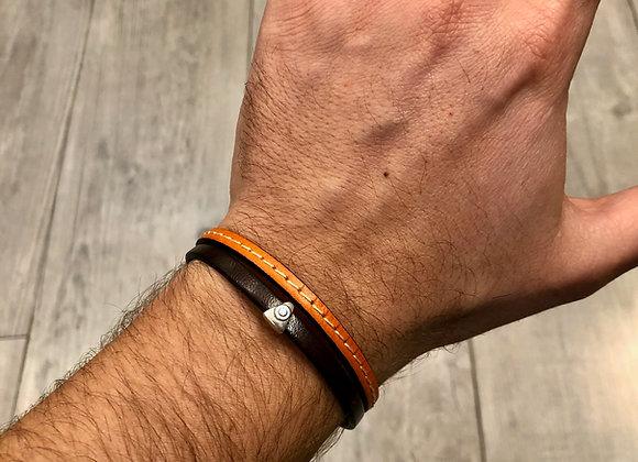 Bracelet cuir deux cordons