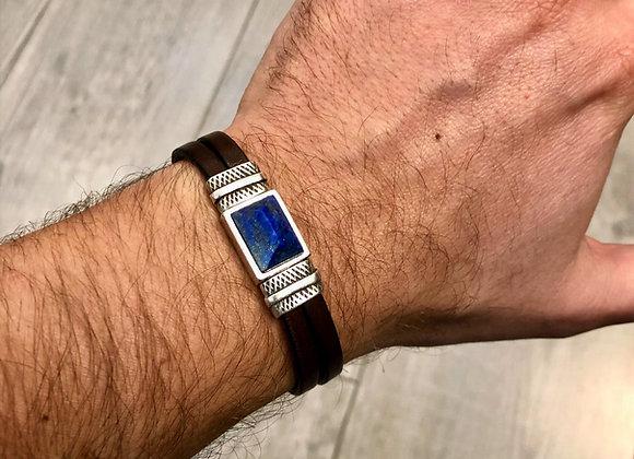 Bracelet cuir Lapis lazuli