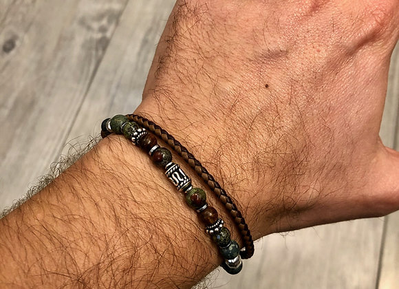 Bracelet perles et cuir ajustable