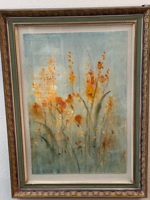 Antique Framed Floral  Wall Art