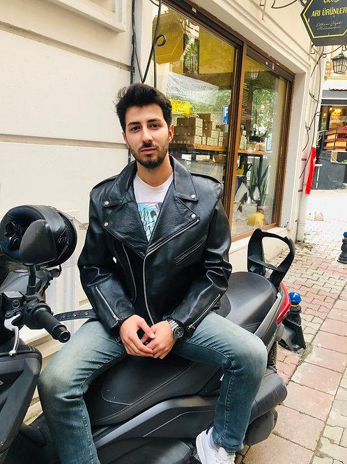 Vintage Motorcycle Leather Jacket, L