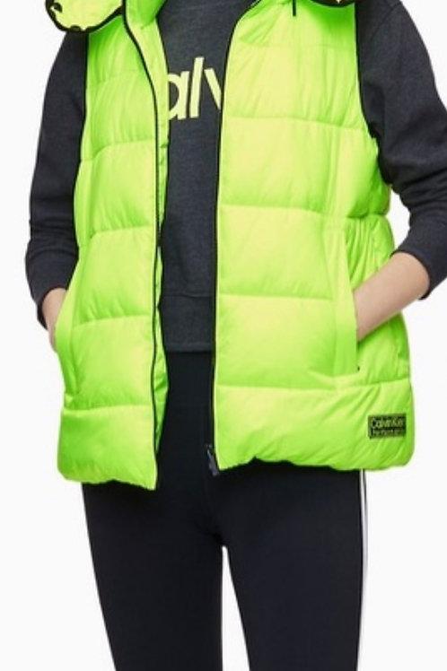 Calvin Klein Neon Green Quilted Vest, M (Kadın)