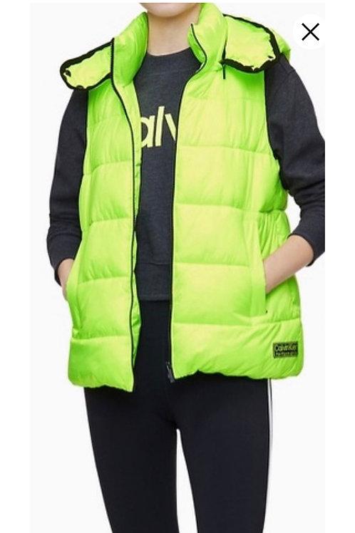 Calvin Klein Neon Green Quilted Vest, M