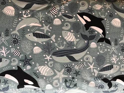 Whales Cotton/Lycra Fabric