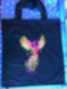 Black shopping bag with embroidered phoenix