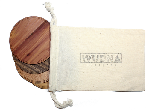 """ECO-Wooden Coasters-Locally Sourced, 4"""" (18 Shape / Wood Options) 4-Pack"""