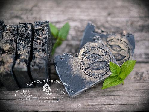 Черное мыло-скраб с углем и маслом ним