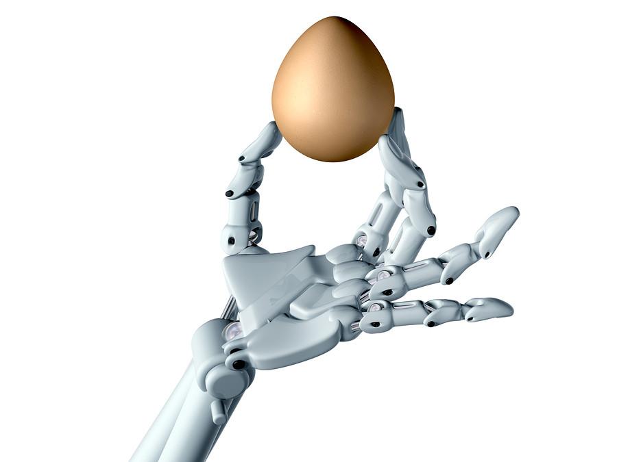 robotic hand holds egg