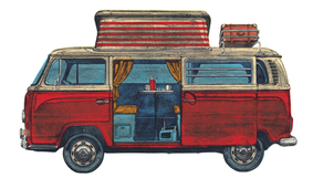 Red VW Camper Van