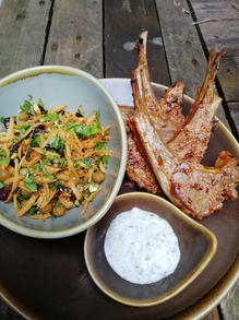 Harissa lamb chops, with a carrot, pistachio, and cranberry salad