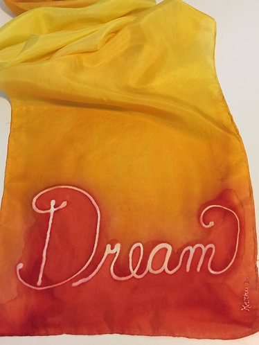 Hand Painted Silk Scarf, Yellow, Orange, dream, ombre, gift for her