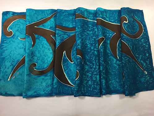 Hand painted silk scarf, blue scarf, brown scarf