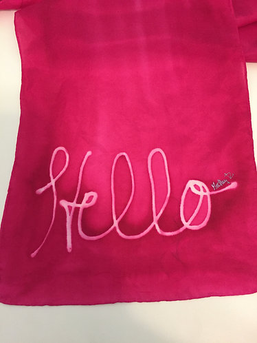Hand Painted Silk Scarf, pink, gift for her, Hello How Are You