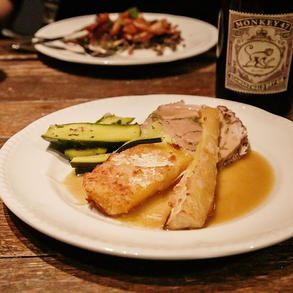 Parmesan custed parsnips and swede, porchetta and courgettes dressed in tarragon oil