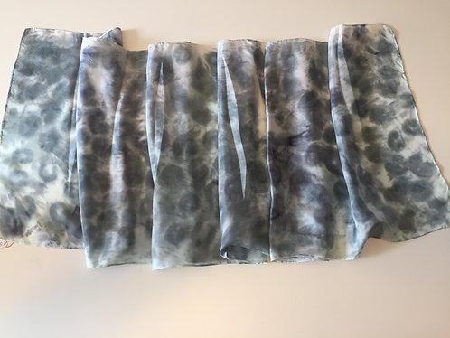 Hand Painted Silk Scarf, grey, animal print, light grey - Softly Sleeping