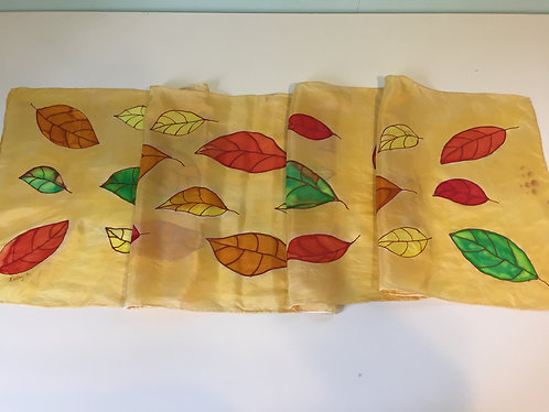 Hand Painted Silk Scarf, gift for her, fall colors, yellow, green, red, orange,