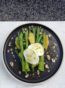 Asparagus, bean, and mozarella salad, with a cirus and hazlenut dressing