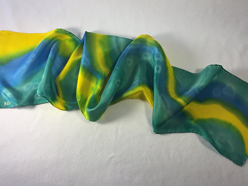 Hand Painted Silk Scarf, green, blue, yellow, Outta This World!