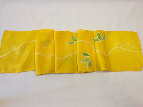Hand Painted Silk Scarf, yellow, green leaves, gift for her, Spring Vines