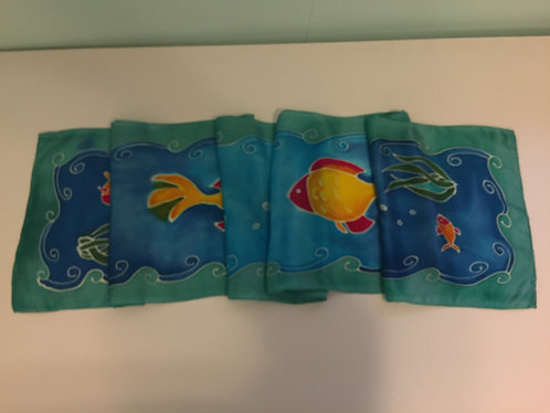 Hand Painted Silk Scarf, blue, green, fish, tropical, Ocean's Delight
