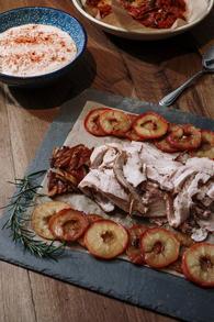 Porchetta and caramilsed apples