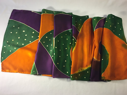 Hand painted silk scarf, gift for her, green, apricot, purple, Spin me 'round