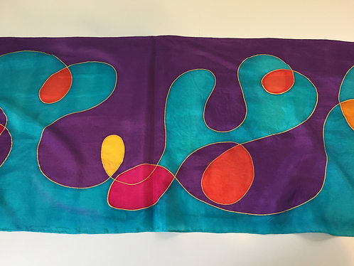 Hand Painted Silk Scarf, purple, turquoise, yellow, magenta, modern, abstract