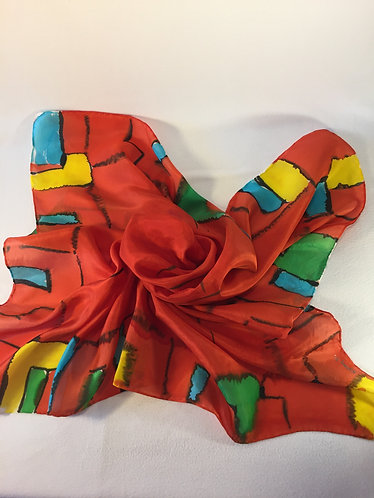 Silk scarf, red, turquoise, yellow, green, square scarf, abstract design