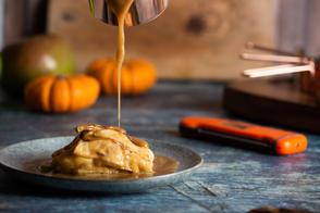 Toffee apple, brioche pudding