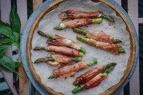 Asparagus, wrapped in mozarella, basil, and Parma ham