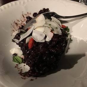 Black sticky rice and coconut cream