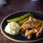 Chicken and Nduja pie, with borlotti beans
