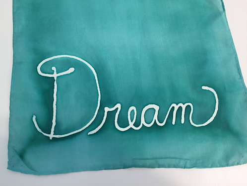Hand Painted Silk Scarf, Inspirational, ombre, marine green, green, Dream On