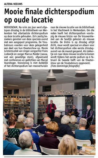 Nederlands Dichterspodium voor de laatste keer in de bieb van Werkendam