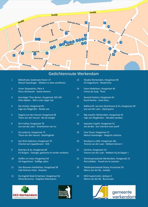 Binnenkant folder gedichtenroute Werkendam