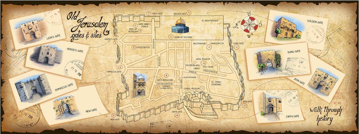 Jerusalem, Israel Old City Map by Giselle S. Hasel