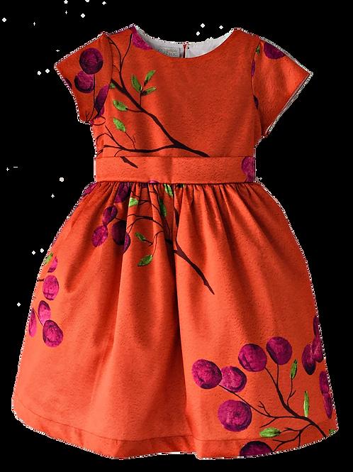 Vestido de cintura estampa cereja