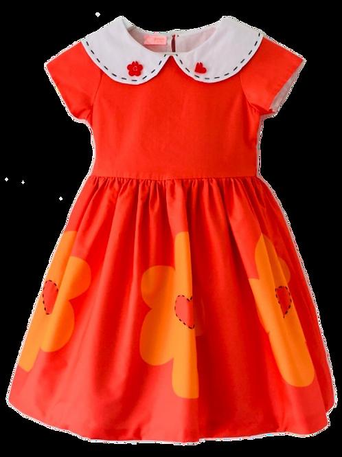 Vestido barrado de flores fundo laranja