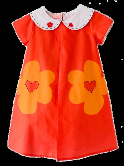 Vestido fundo laranja estampa flores