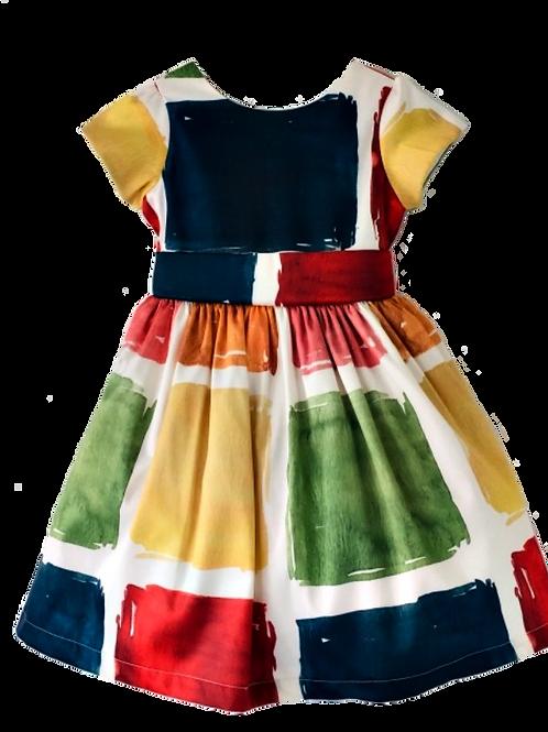 Vestido estampa quadrinhos coloridos
