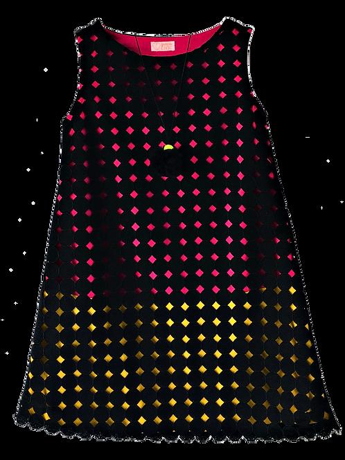 Vestido de Renda preto fundo cores