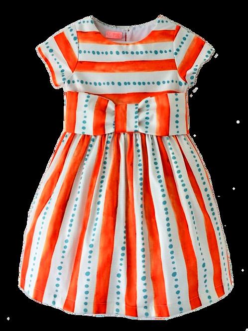 Vestido de cintura listras laranja