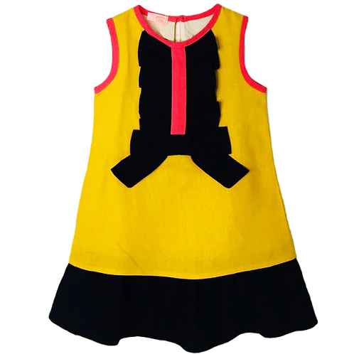 Vestido tricolore em Linho