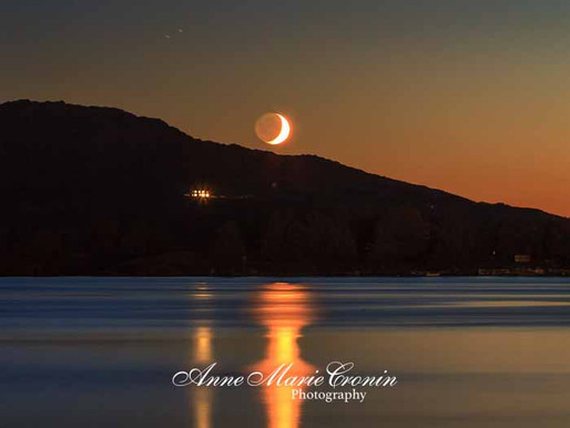Photographs of the Moon setting over Beara, West Cork