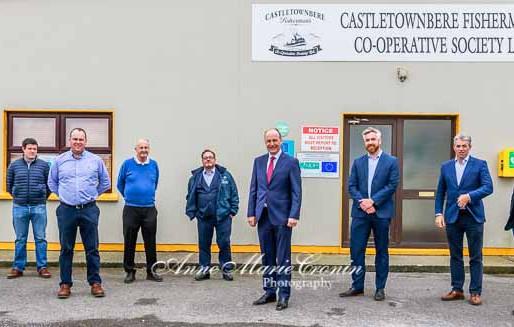 An Taoiseach Micheál Martin meets fishermen in Castletownbere, Beara  today