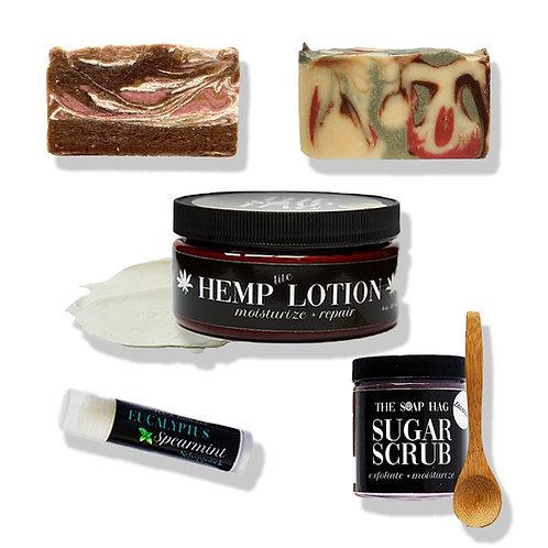 Men's Skin Care Bundle | Body Lotion | Sugar Scrub | 2 Bar Soaps | Lip Balm | Gi