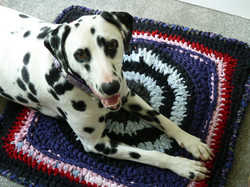 Penelope on a crochet mat