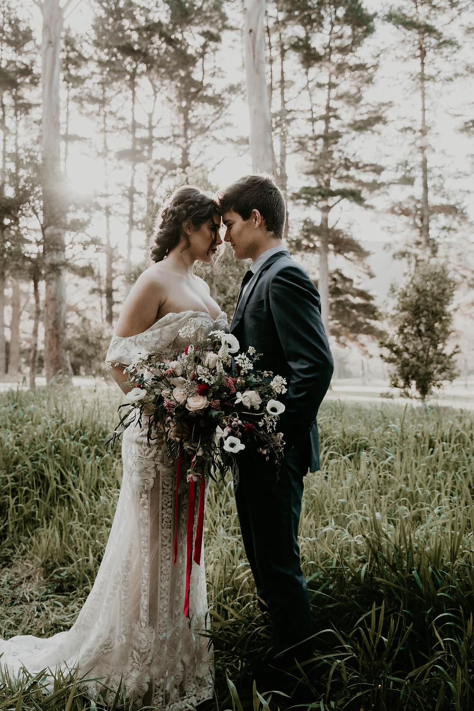 Vintage Halloween inspired wedding styled shoot, Bride in Trish Peng wedding dress, groom in handmade Italian suit. .